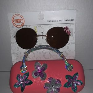 New girls sunglasses case set pink summer